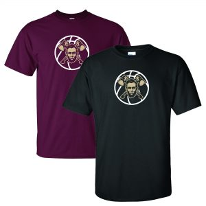 Two Lincoln Basketball T-Shirts in Maroon and Black